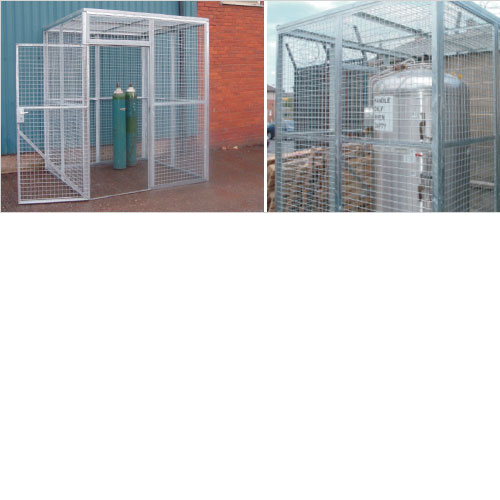 Galvanised mesh security cages